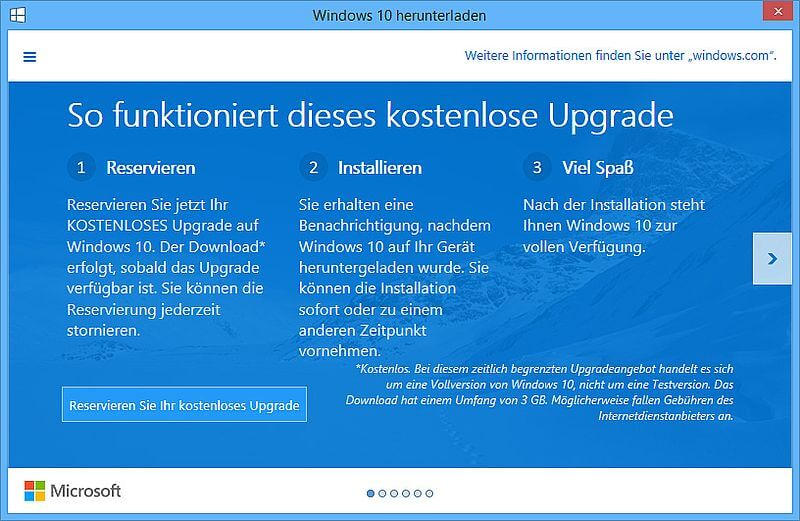 Reservierung Windows 10 Windows 10: Kostenloses Upgrade oder Marketingköder?